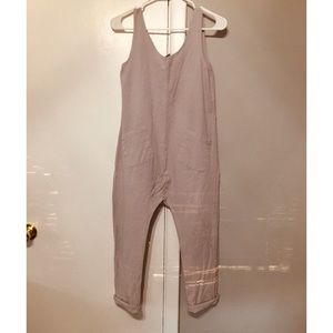 Pants - Gray linen overalls